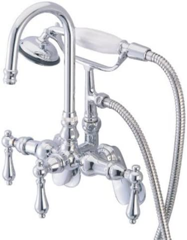 Elements Of Design Hot Springs Triple Handle Wall Mount Clawfoot Tub Faucet With Handshower Bathtub And Showerhead Faucet Systems