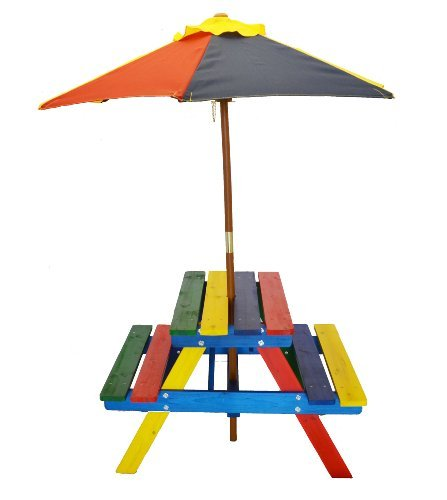 Home and Garden HGC Junior Rainbow Kids Picnic Table Set wit
