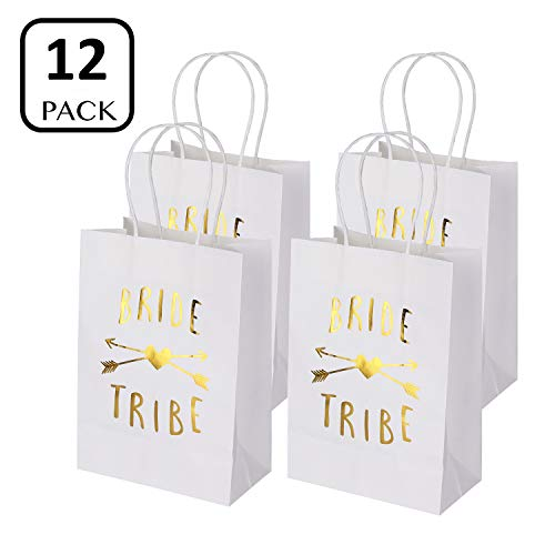 Bachelorette Party Bags Set of 12 - PojoTech Bachelorette Party Bride Tribe Gifts Bags Party Supplies Decorations for Wedding Bridal Party Bachelorette Party (White) -