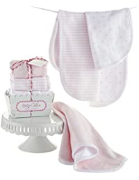 Baby Cakes Set of 3 Burp Cloths, Pink/White