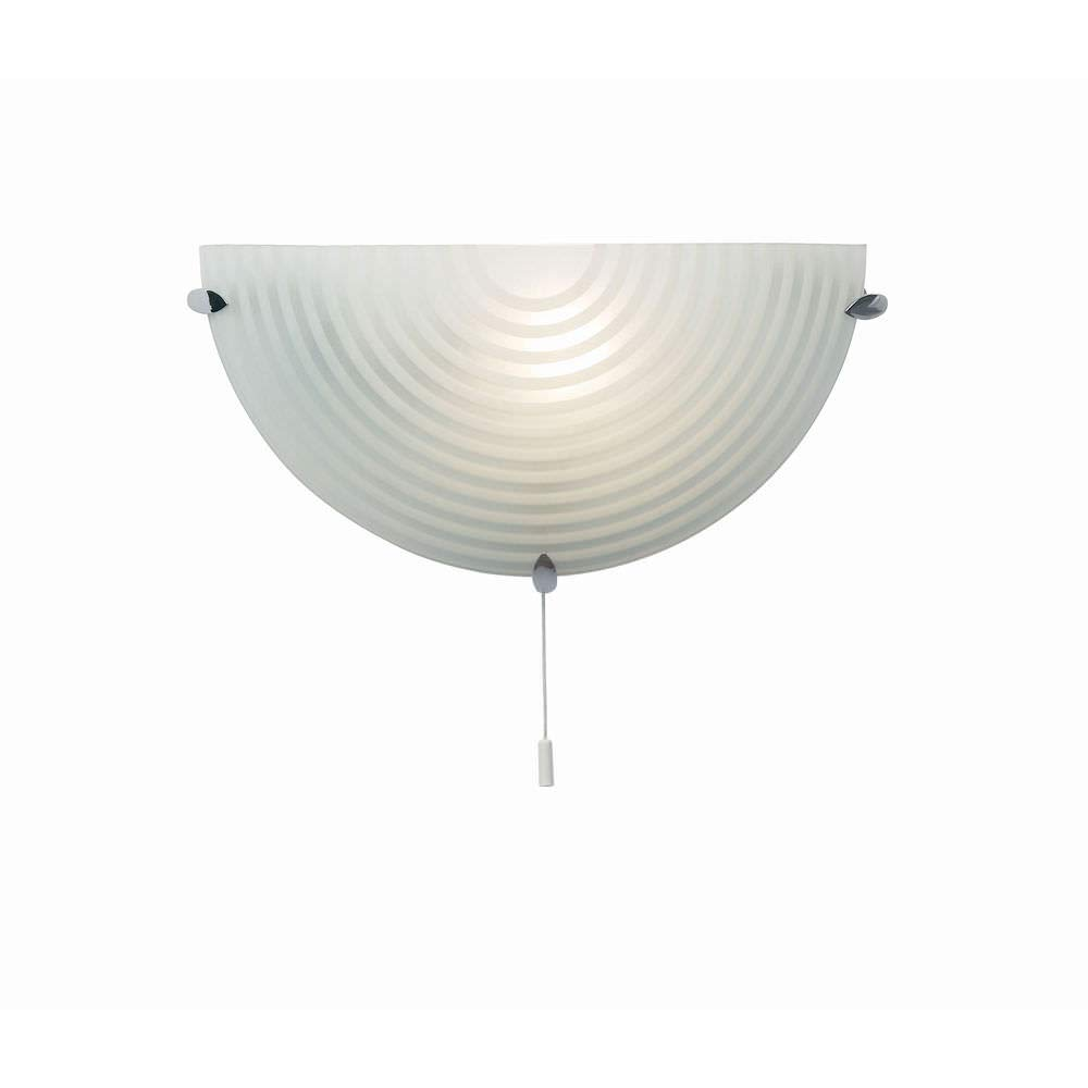 60W Frosted and Clear Glass Chrome Plated E14 Semi Circle Pull Cord Switch Wall Light Betta Lighting