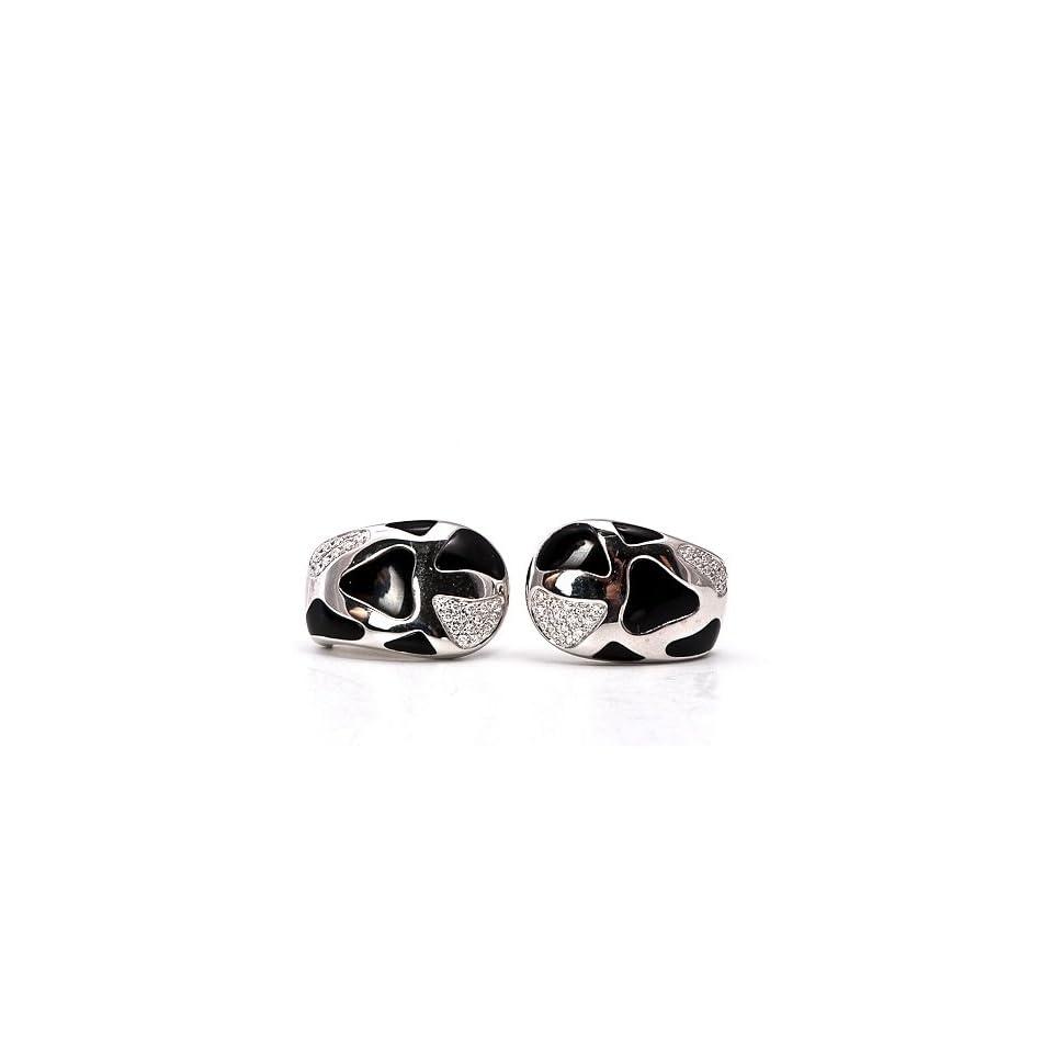ROBERTO COIN Earrings Diamond Enamel Gold Earrings