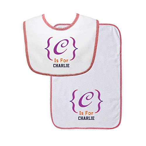 Personalized Custom Alphabet Decoration Letter Block Cotton Boys-Girls Baby Bib & Burb Set Gingham Trim - Red, One Size