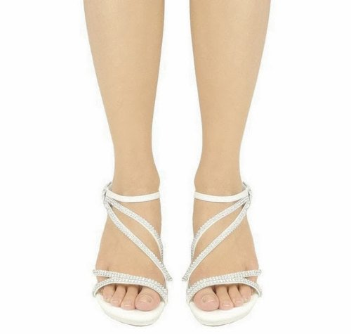AG Silver JJF Evening Luxury Strappy Shoes V Ankle Dress Low Crystal Heel 6 Rhinestone Flower Sandals 5qItfxw