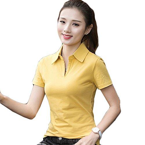 [ユリカー] レディース ポロシャツ 半袖 ゴルフ Tシャツ シャツ トップス ゆったり ショット丈 無地 コーディネート