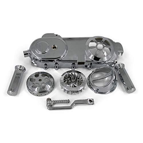 (SMM 15-101- Chinese Scooter Chrome Package Short Case 50cc QMB Engine 8 Bolt CVT Cover 6 Piece Set)