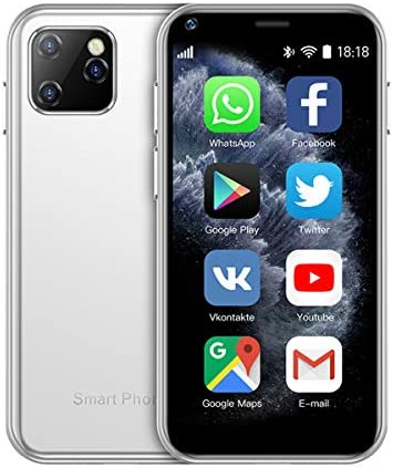 SOYES XS11 3G Mini Smartphone 2.5 Inch WiFi GPS RAM 1GB 8GB Core Android 6.0 Cell Phones Camera Dual Sim Google Play Cute Smartphone (White)