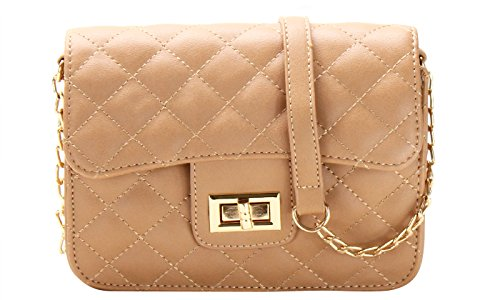 Cute Designer Quilted Crossbody Bag (TAN) - Tan Quilted Bag