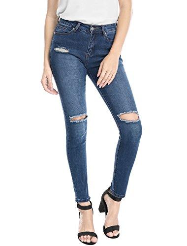 Allegra Altura Para Diseño Pantalones Agujero Mujer Azul De K Media Vaqueros Delgado Estirar nxwgxz