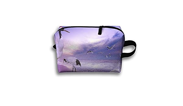 Amazon.com: Storage Bag Travel Pouch Red-crowned Crane Beach ...