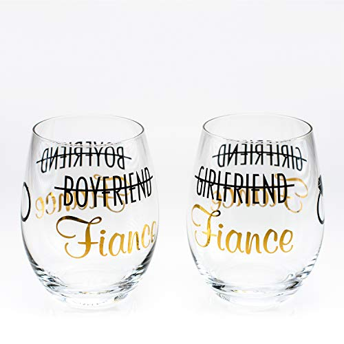 Greenline Goods - Toasting Glasses for Bride and Groom (Set of Two)| Stemless Wine Glasses | Engagement Bachlorette Gifts for Bride