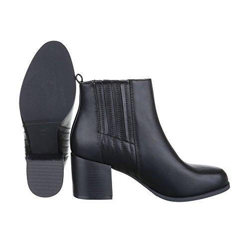 Klassische Stiefeletten Damen-Schuhe Schlupfstiefel Blockabsatz Leicht Gefüttert Ital-Design Stiefeletten Schwarz, Gr 40, 239-