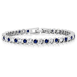 Gem Stone King Stunning Round White Cubic Zirconia and Simulated Blue Sapphire Tennis Bracelet