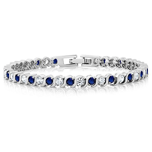 Gem Stone King 4.50 cttw Stunning Round White Cubic Zirconia and Simulated Blue Sapphire Tennis S-Style Bracelet 7inches Long