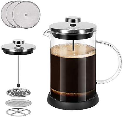Kuyal Cafetera de prensa francesa, prensa de té de acero ...