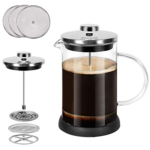 Glass French Press Coffee Tea Maker 20 oz, 600 ml Stainless Steel Coffee Press with 3 Extra Filter Screens, Double Wall…
