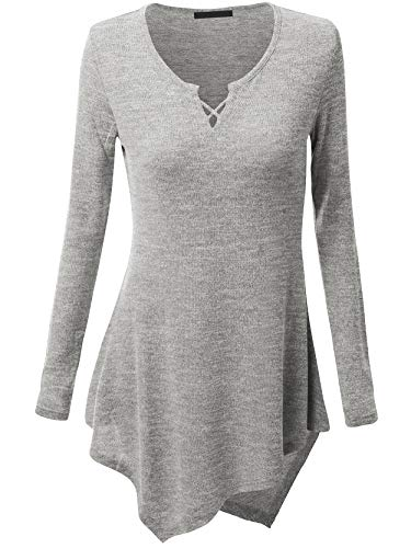 63eba6f6f43 Womens V Neck Long Sleeve Criss Cross Knit Tunic Irregular Hem Tops Gray M