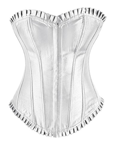 Sibeawen Women's Sexy Satin Strapless Ruffled Top and Bottom Hook and Eye Closure Overbust Corset White X-Large