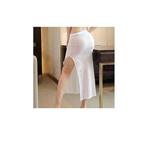 QIANDUOO Women Skirt Sexy See Through High Slit Sheer Voile Transparent Pencil Club Skirt (Voile Skirt)
