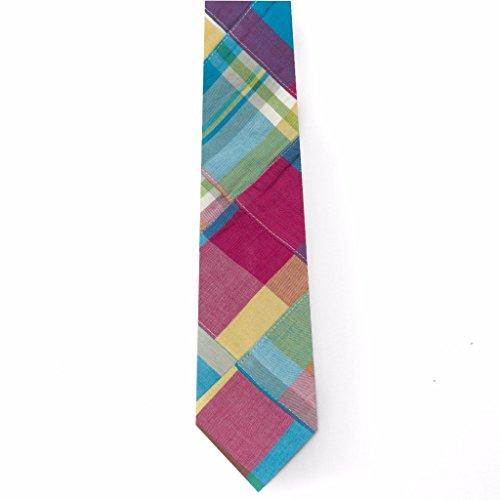 Patchwork Madras Tie- Mystic
