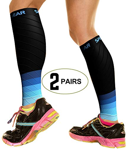 (2 PAIRS Calf Compression Sleeve for Men & Women, Best Footless Socks for Shin Splints & Leg Cramps, Calves Circulation Remedy, Support Stockings, Running, Basketball Lycra Tights - BLK & BLUE S/M/L)