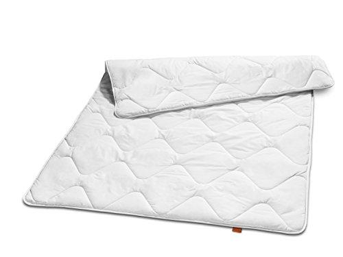 sleepling 190052 Basic 240 Winter Decke Mikrofaser Baumwolle Mischgewebe duo warm 155 x 220 cm, weiß