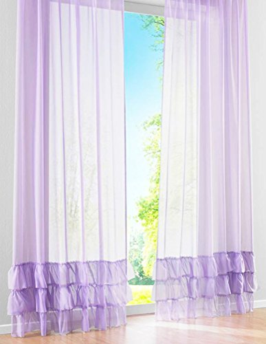 Voile Panel Skirt - LivebyCare 1 Pcs Ruffles Skirt Sheer Window Panel Curtain Drapery Treatment Tap Top Voil Drape Room Divider Partition Decorative Vanlance Pelmet for Dinning Room Decorative