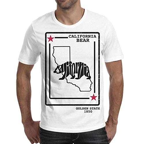 - California Bear Golden State 1850 Men's Short Sleeve Cotton T-Shirts Crew Neck Graphic Top
