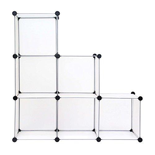 C&AHOME - DIY Bookcase Media Storage Standing Shelf Storage Cabinet Cube of 6, Semitransparent ()
