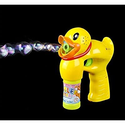 Light Up Duck Bubble Gun - Bubble Blowing Blaster with 2 Bottles of Solution and Batteries: Toys & Games