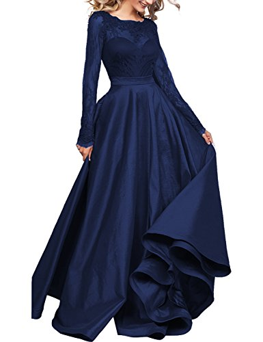 Womens Lace Long Sleeves Prom Dresses Tulle Long Evening Prom Party Dresses
