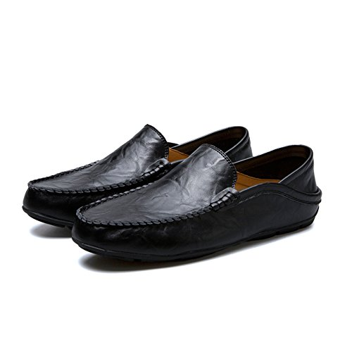 Easy Go Shopping Leather Shoes Men's Flat Heel Fashion Loafer Slip On Leisure Shoes Black 9220t