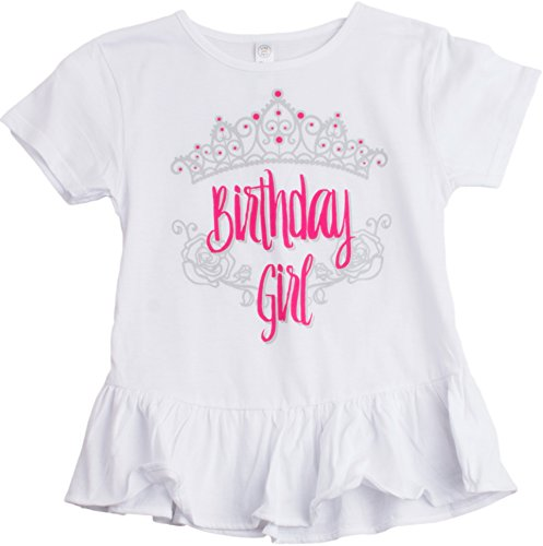 Birthday Girl Princess | Princess Party Tiara B-Day Top Girly Ruffle T-shirt - (Ruffle,XS) Birthday Top