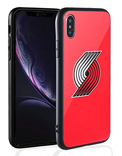 (Sportula NBA Phone Case - 9H Tempered Glass Back Cover Silicone Rubber Bumper Frame Compatible Apple iPhone X/iPhone Xs (Portland Trail Blazers))