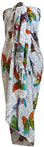 Sarong Wrap From Bali Your Choice of Design Beach Cover Up (Butterflies White Color)