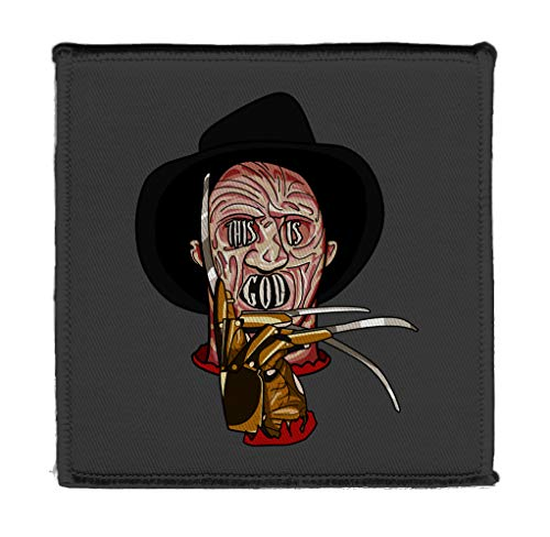 "Creepy Haunted Dream Man with Hand Claws This is God Horror Film Movie Parody 4"" X 4"" Iron On Patch Applique"