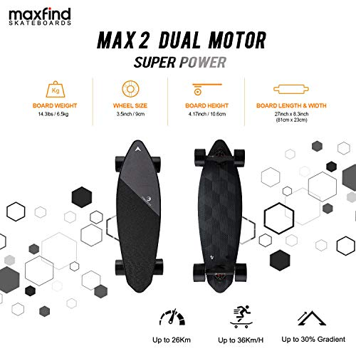 Maxfind Electric Skateboard Max-2,23 MPH Top Speed, 1200W Motor, 16 Miles Range Compact Electric Cruiser Skateboard (Dark Motor) ()