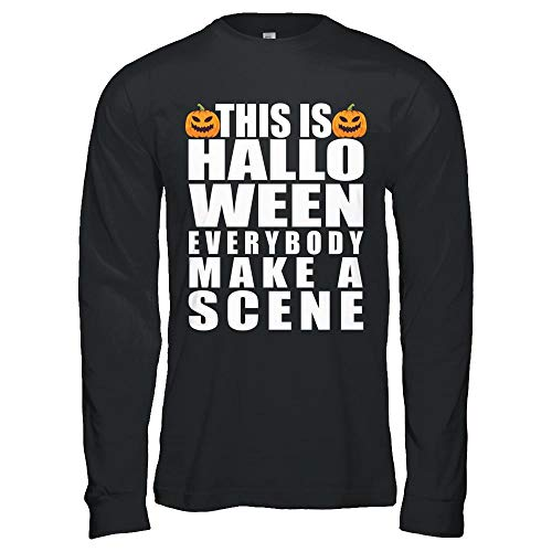 This is Halloween Everybody Make A Scene Costume Funny Pumpkin Face Gildan - Long Sleeve T-Shirt Black 5XL