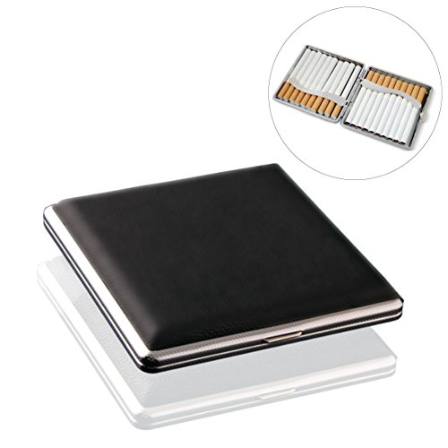 Leather Black Cigarette Case Holds 20 Cigarette (For Regular Size and King Size 84mm Only)