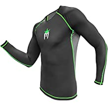 Meister Rush Long-Sleeve Rash Guard for MMA, BJJ & Surfing - Black/Neon Green - Large