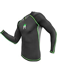 Meister Rush Long-Sleeve Rash Guard for MMA, BJJ & Surfing - Charcoal/Black