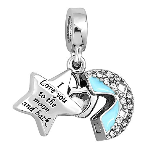 DemiJewelry Light Blue I Love You to The Moon and Back Heart Crystal Charms Beads for Charm Bracelets