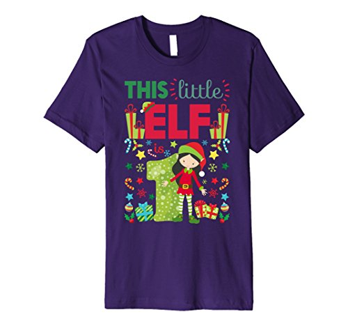 Mens This Little Elf Is 1 Year Old 1st Birthday & Christmas Shirt Large Purple