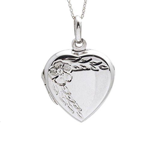 Silverly Women's .925 Sterling Silver Heart Flower Locket Pendant Necklace, 46 cm