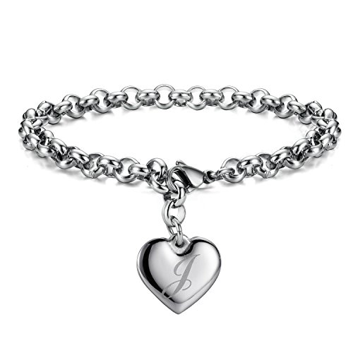 Monily Initial Charm Bracelets Stainless Steel Heart 26 Letters Alphabet Bracelet for Women (Letter Jewelry)