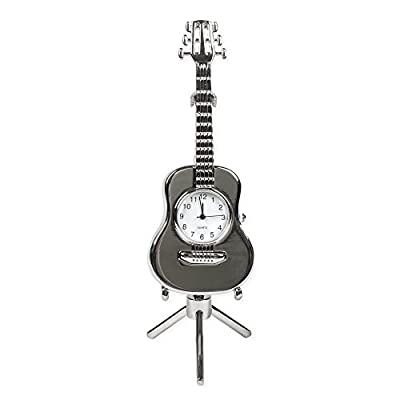 String Guitar Miniature Replica Silver Tone 3 x 5.5 Resin Stone Tabletop Clock - Made of quality resin polymer stone material Clock measures approximately 3 x 5.5 inches Requires battery; Not included - clocks, bedroom-decor, bedroom - 413rWVoLX9L. SS400  -