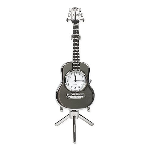 Broadway Gift String Guitar Miniature Replica Silver Tone 3 x 5.5 Resin Stone Tabletop Clock