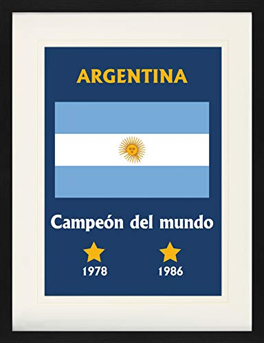 Football Framed Collector Poster - World Champion Argentina Campeón Del Mundo 1978 1986 (31 x 24 - Argentina 1986 World Cup