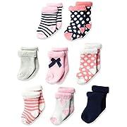 Hudson Baby Basic Socks, 8 Pack, Heart, 0-6 Months