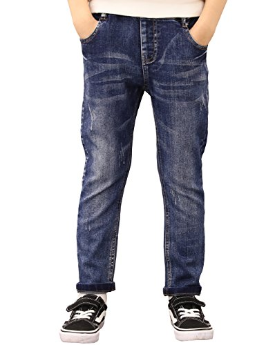 BYCR Boys' Blue Denim Jean Elastic Waist Pants for Kids Size 4-18 No. 71500092 (170 ( US Size 16-18 ), dark-blue)